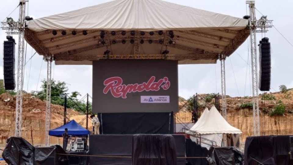 Reynold's Sound & Lighting stage for religious outdoor event