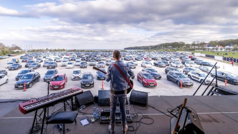 Drive-in concert setup by Nordic Rentals