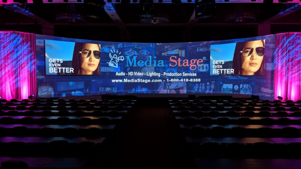 Media Stage curved screen setup