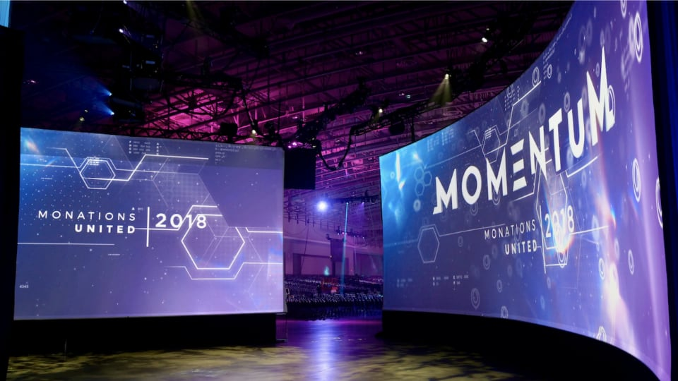 Solomon Group curved LED screen at Monations United 2018 event
