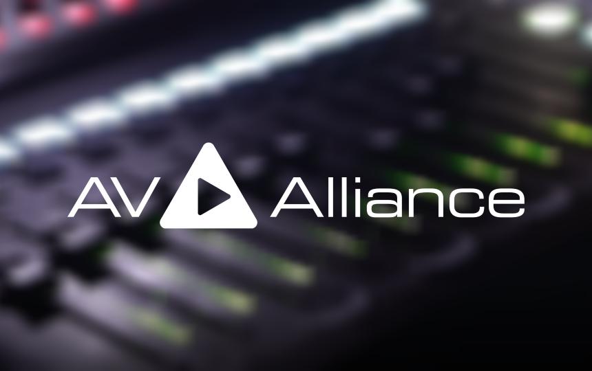 AV Alliance logo over image of mixing console